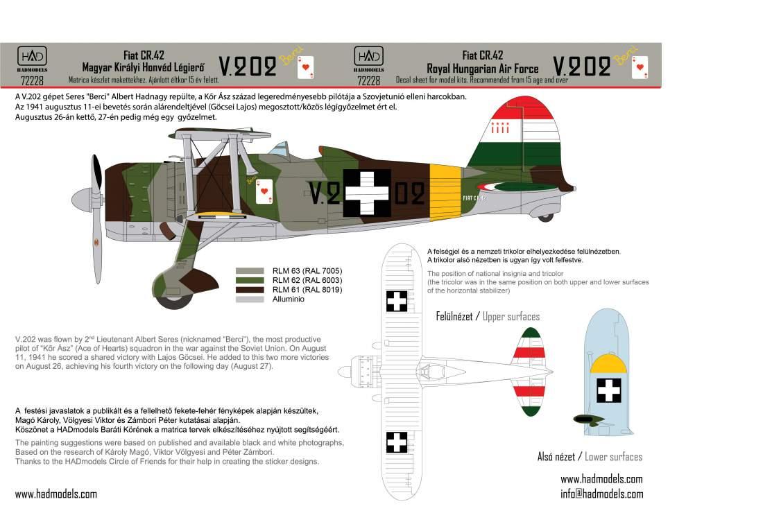 72228 CR-42 Magyar Királyi Honvéd Légierő V.202 matrica 1:72