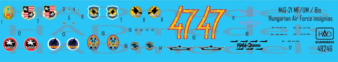 48246 MiG-21 MF/ Bis/UM Magyar Légierő egyéni jelzései matrica szett 1:48