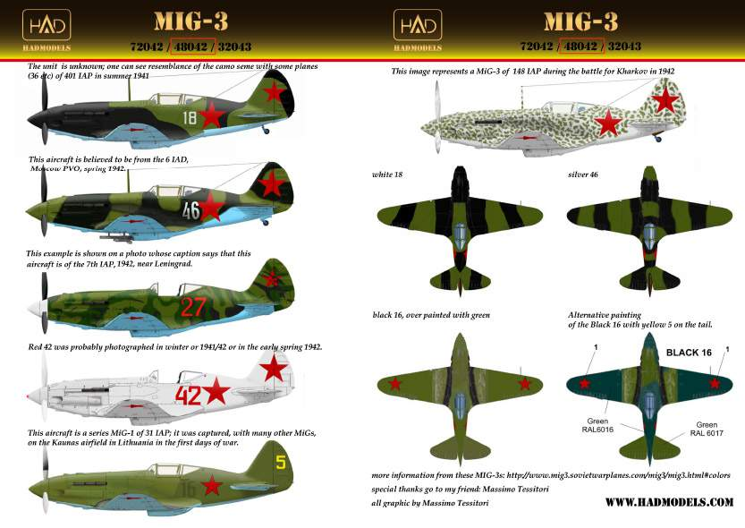 48042 MiG-3 (silver 46, white 18, black 16, red 42, red 27)
