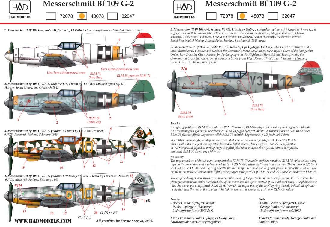 48078 Messerschmitt Bf 109 G-2 matrica 1:48