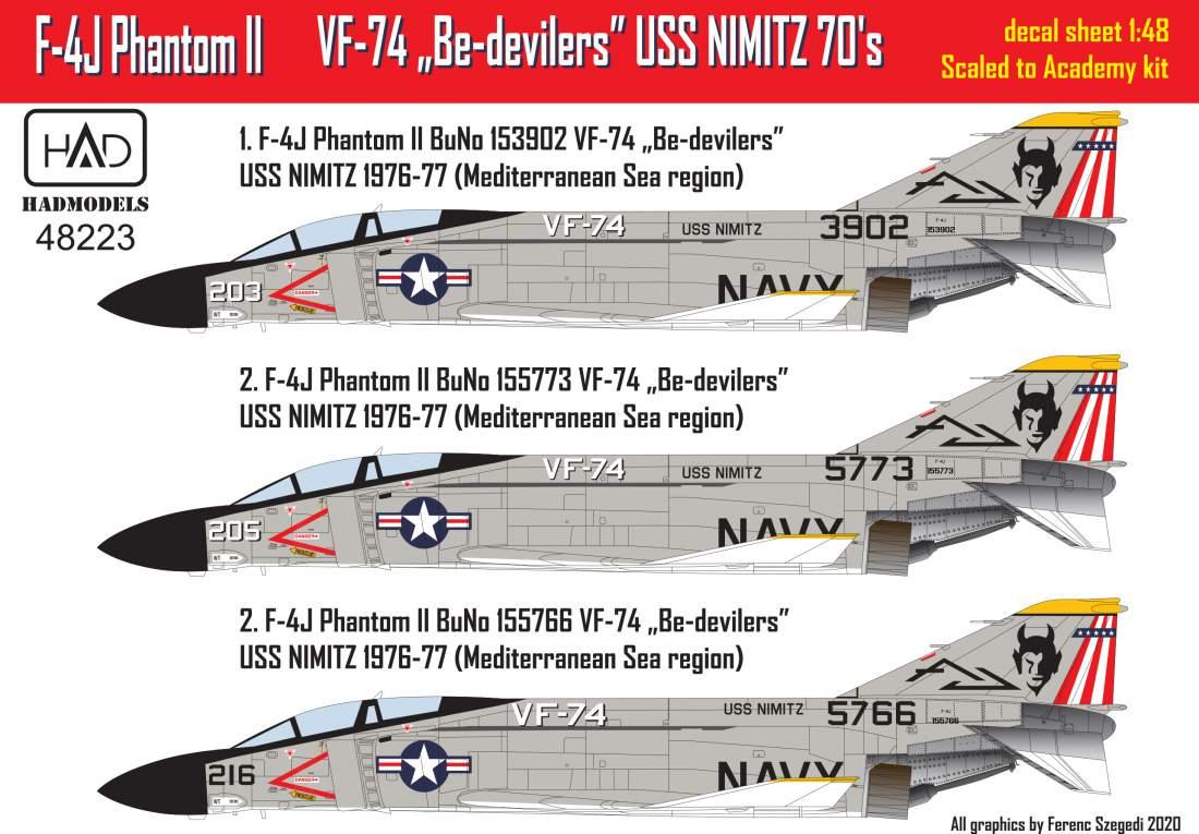 48223 F-4J Phantom VF 74 Be-devilers USS NIMITZ 70´s part 1 matrica 1:48