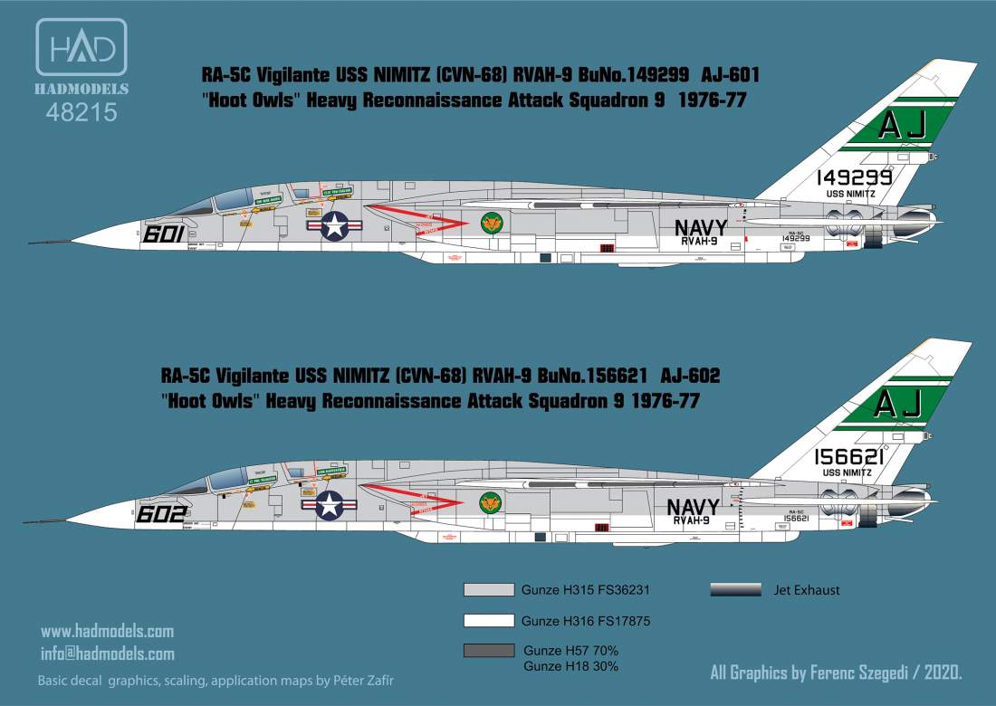 48215 RA-5C Vigilante  / USS Nimitz matrica 1:48