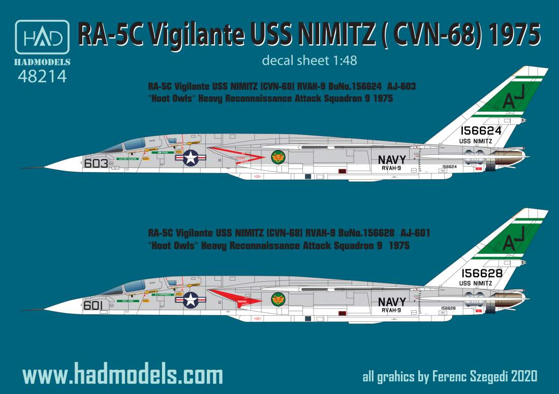 48214 RA-5C Vigilante  / USS Nimitz  matrica 1:48