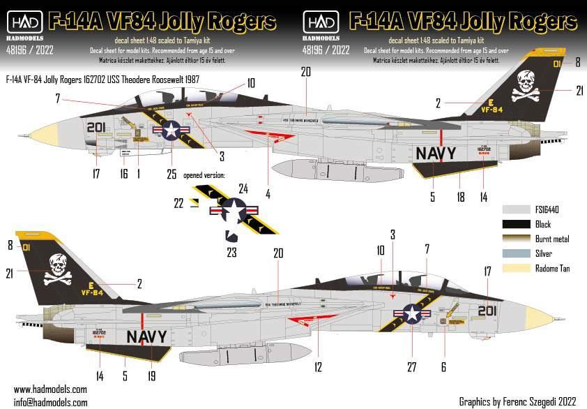 48196 F-14A 201 VF-84 Jolly Rogers matrica 1:48
