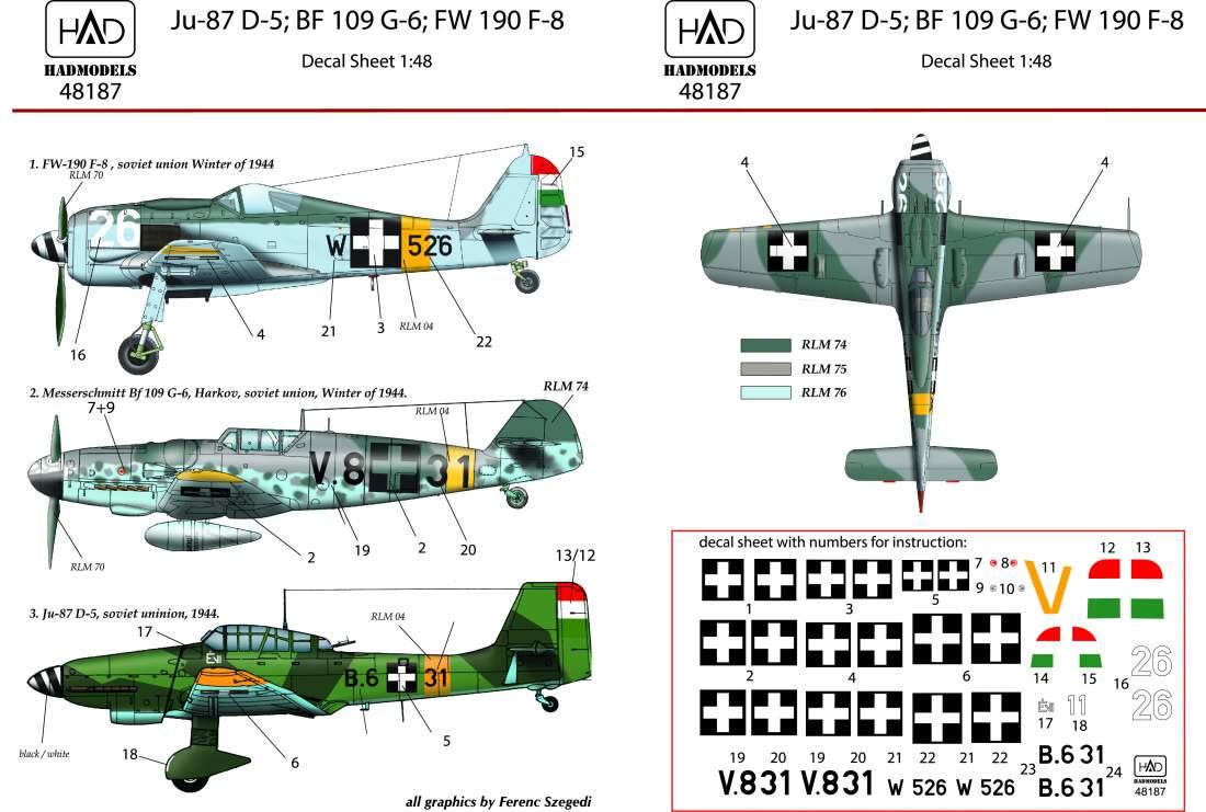 48187  FW 190 F-8 Bf 109 G-6 Ju-87 D-5  (V8+31, B6+31 Évi, W+526)  matrica 1:48