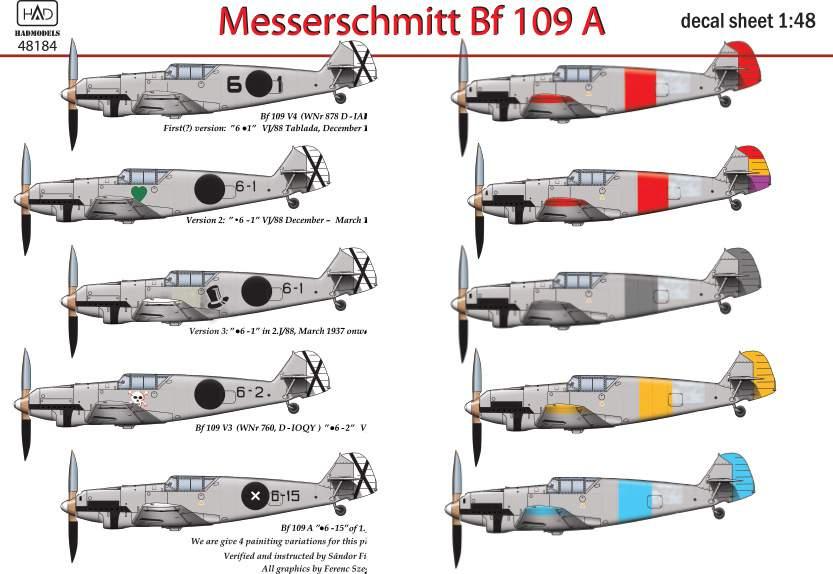 48184 Messerschmitt Bf 109 A ( V3 6.1, .6-1, .6-2, .6,-15) matrica 1:48