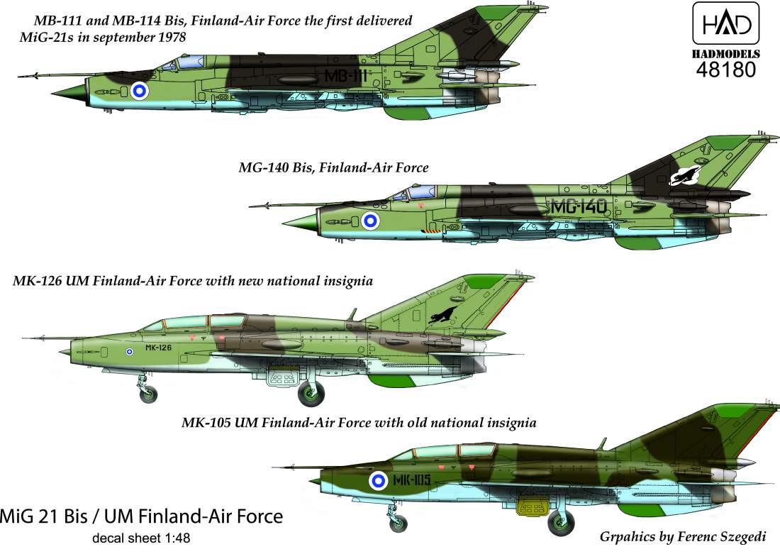 48180 MiG-21 Bis/UM ( Finland- Air Force) matrica 1:48
