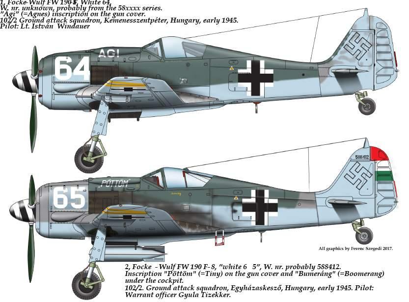 """48178 FW-190 F-8 ( 64 """"Ági"""", 65 """"PÖTTÖM"""") matrica 1:48"""