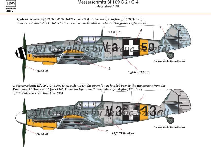 48176 Messerschmitt Bf 109 G-2/G-4 matrica 1:48