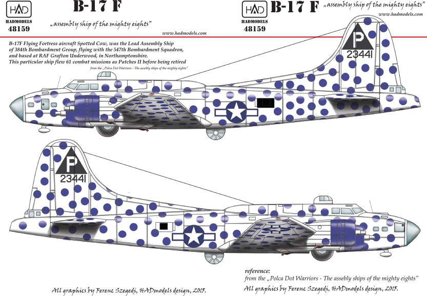 48159 B-17F spotted Cow USAAF matrica 1:48