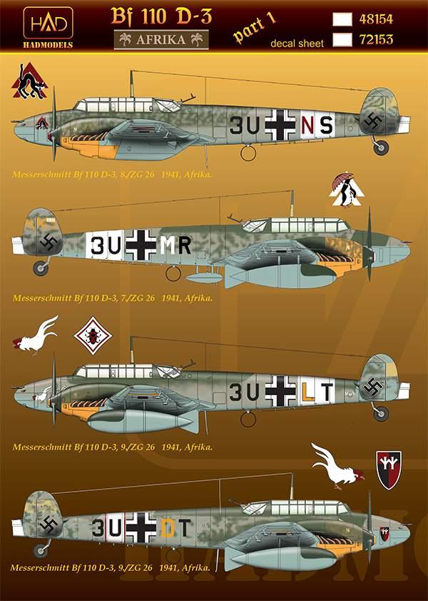 """48154 Bf 110 D-3/E-2 """"Africa"""" part 1 matrica 1:48"""