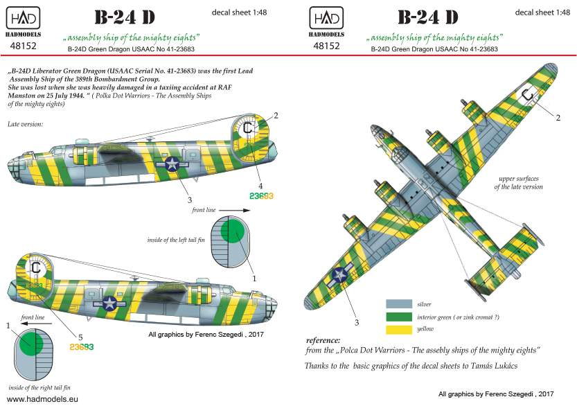 48152 B-24 D Green Dragon USAAF matrcia 1:48