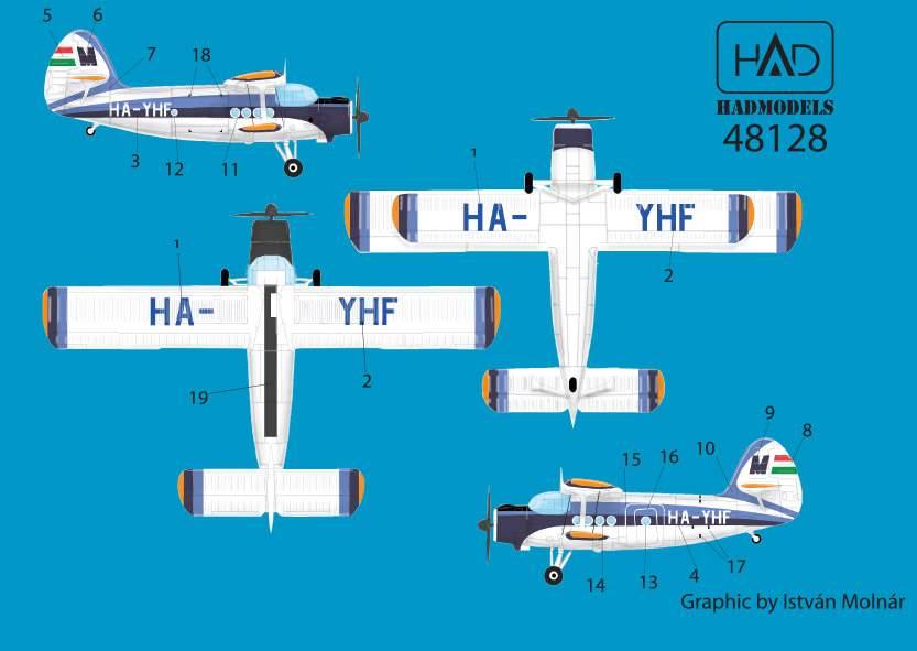 48128 An-2 MALÉV old (HA-YHF) matrica 1:48