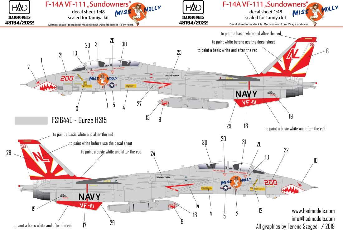 "48194/2019 F-14A VF111 ""Sundowners"" - Miss Molly matrica 1:48"