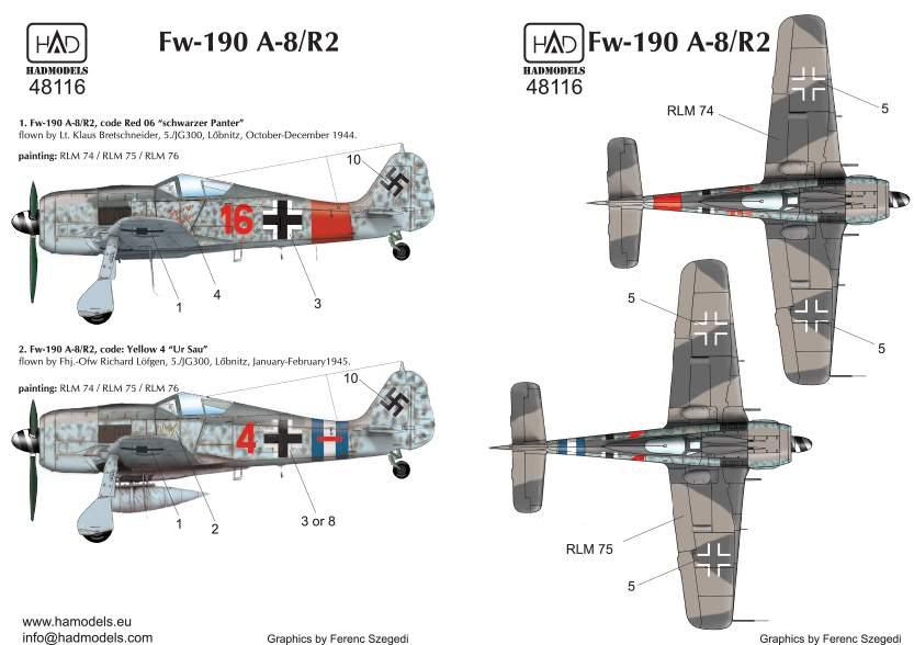"48116 Fw-190 A-8 / R2 red 4 ""Ur Sau""; Red16 ""Schwarzer Panter"") decal Sheet 1:48"