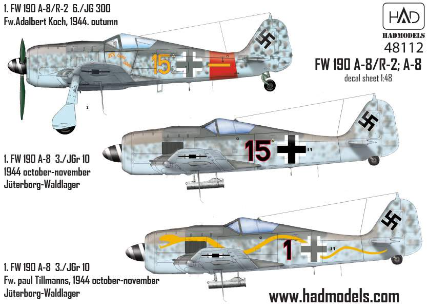 "48112  Fw-190 A-8 / R2 (Luftwaffe ""Ti Ti wau wau"" yellow 15, Black 1, Black15"" ) matrica 1:48"