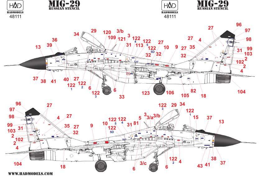 48111  MiG-29 full Russian stencil matica  1:48
