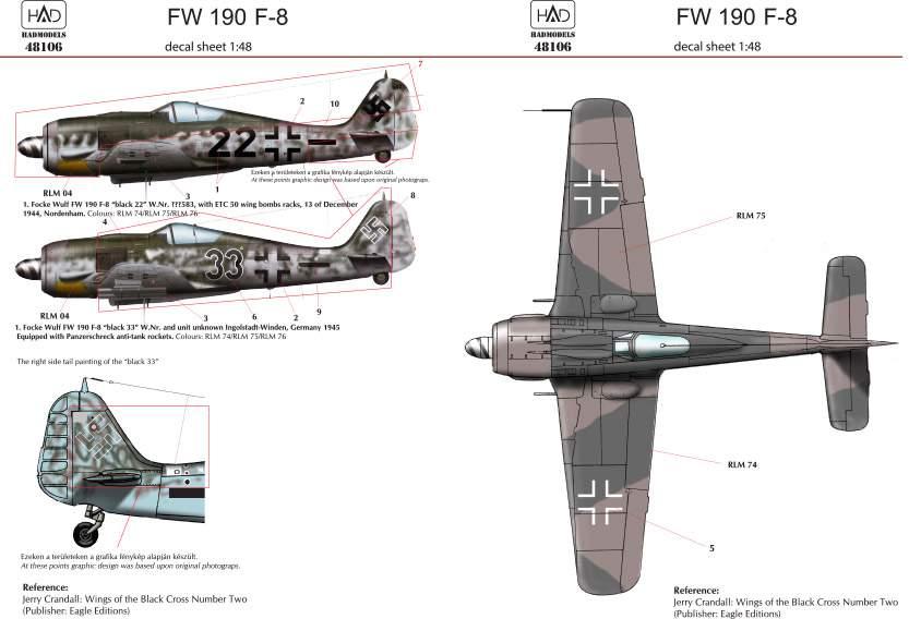 48106 FW 190 F-8 (2Luftwaffe) matrica 1:48
