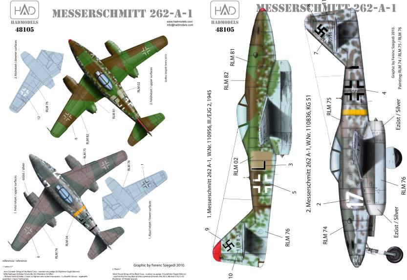 """48105 Messerschmitt Me 262 A-1 (Luftwaffe black """"L"""", white 17) matrica 1:48"""