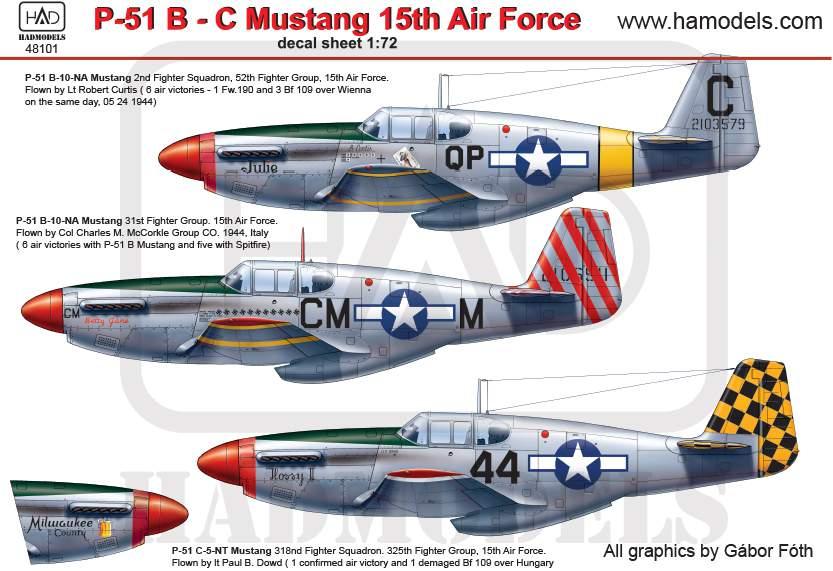 48101 P-51 B Mustang matrica 1:48