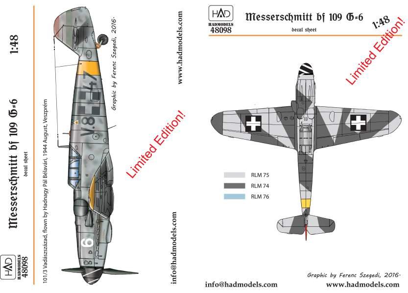 48098  Messerschmitt Bf 109 G-6 matrica 1:48