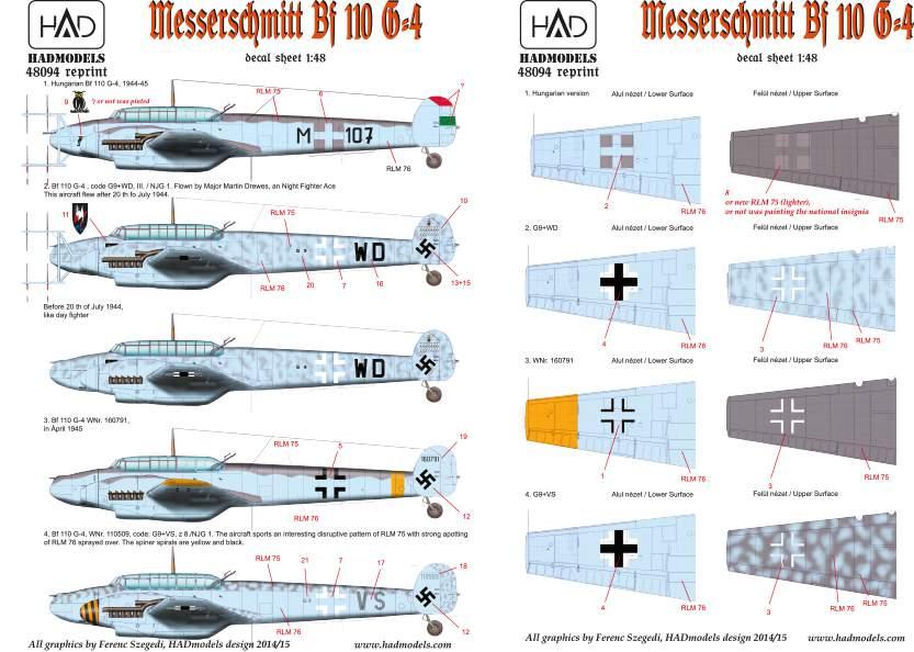 48094 Messerschmitt Bf 110 G-4 (HU M-107, + 3Luftwaffet) matrica 1:48