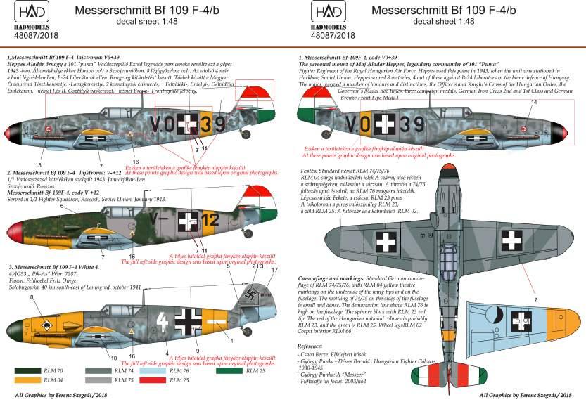 48087/2018 corected Messerschmitt Bf 109 F-4/b part II matrica 1:48