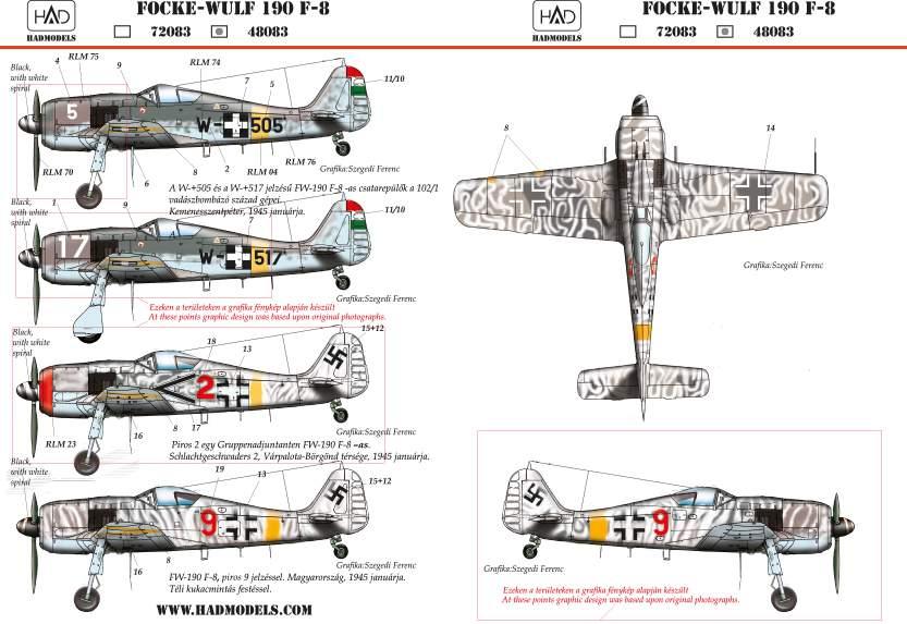 48083  FW-190 F-8 red/Black 2; 9; W-517; w505 matrica 1:48