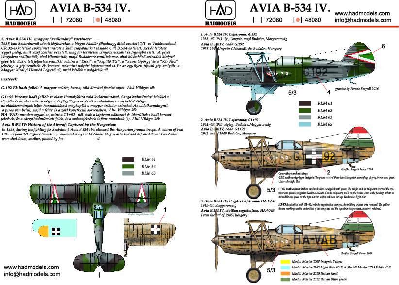 48080 Avia B534  matrica 1:48