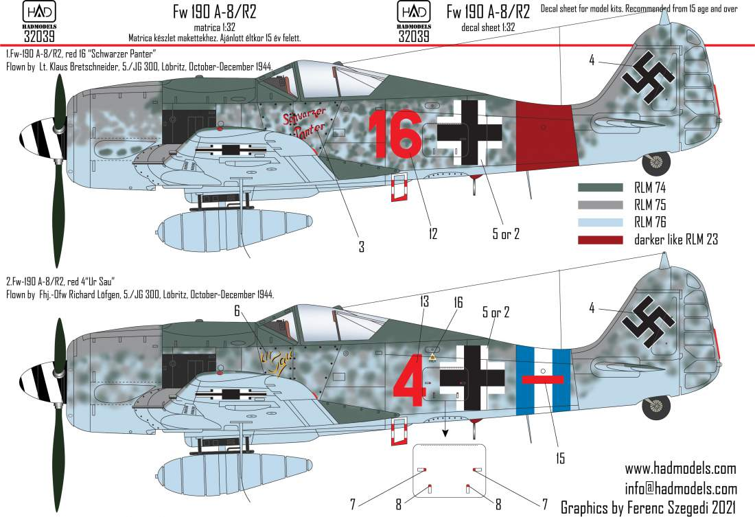32039 Fw 190 A-8/R2 matrica 1:32