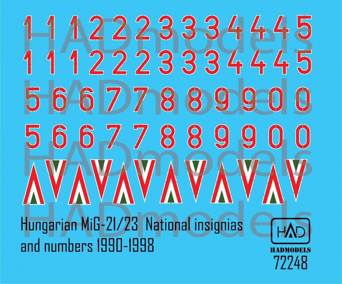 72248 Magyar Ék Felségjel és Számsor matrica 1990-1998 1:72