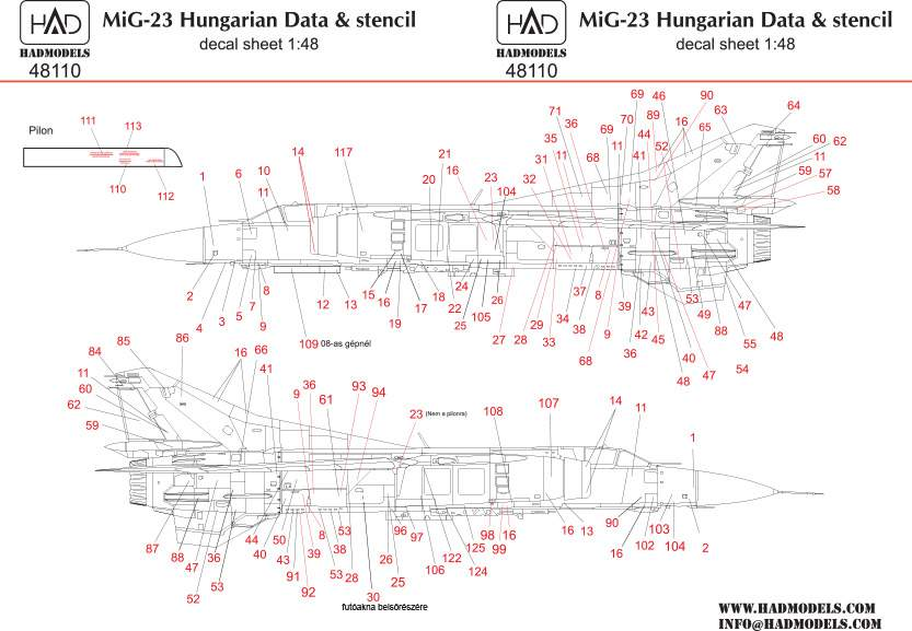 48110 MiG-23 magyar Stencil 1:48